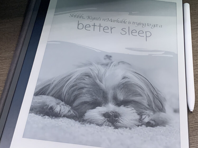 "Image shows my reMarkable showing the Canva-created image of a dog sleeping with the words above saying ""Shhhh... Kyra's reMarkable is trying to get a better sleep""."