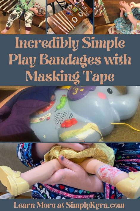 Pinterest geared image showing several photos from the blog posts, all shown below, along with the blog title and my main URL. Specifically the images shows the masking tape on a bench being decorated (three images along the top) and as bandages on a plastic toy (two stacked images below).