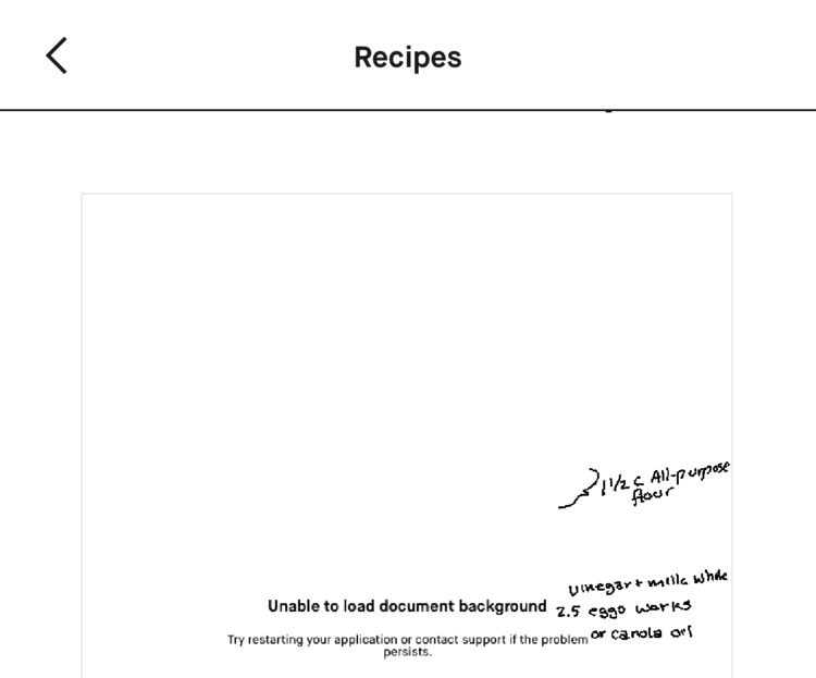 "The top of the image says ""Recipes"". Below it is a rectangle, cut off, showing the document page. In the center, lower in the image, it says ""Unable to load document background[. ]Try restarting your application or contact support if the problem persists."" To the side you can see the changes I made, in a different layer, over top."