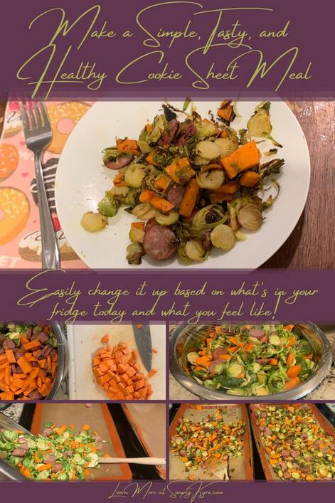 """Pinterest-geared image showing the blog title, some subtext, my main URL, and five images. The top image, under the title, shows a plate with this on it. Underneath it says """"easily change it up based on what's in your fridge today and what you feel like!"""". Below that are four images showing the yams being cut, the bowl wrapped in plastic wrap, pouring the contents of the bowl on a cookie sheet, and the dish fresh out of the oven."""