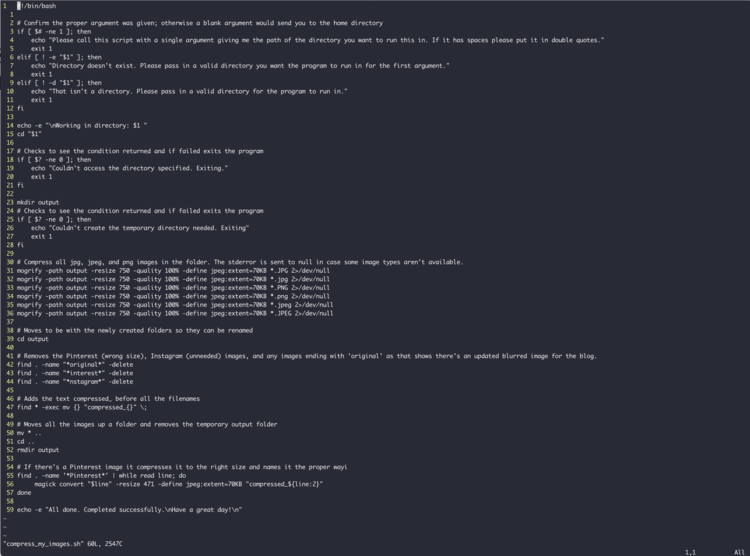 Image is a screenshot of the bash script opened in Vim through my terminal so the background is black. Each line starts with a yellow number and the text itself is in white. This script was shown in parts above and complete below if you want to read it.