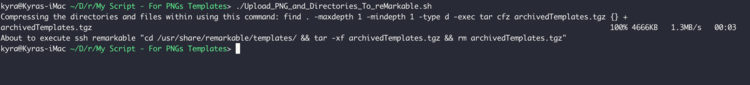 Screenshot of the terminal showing the script's output as it ran.