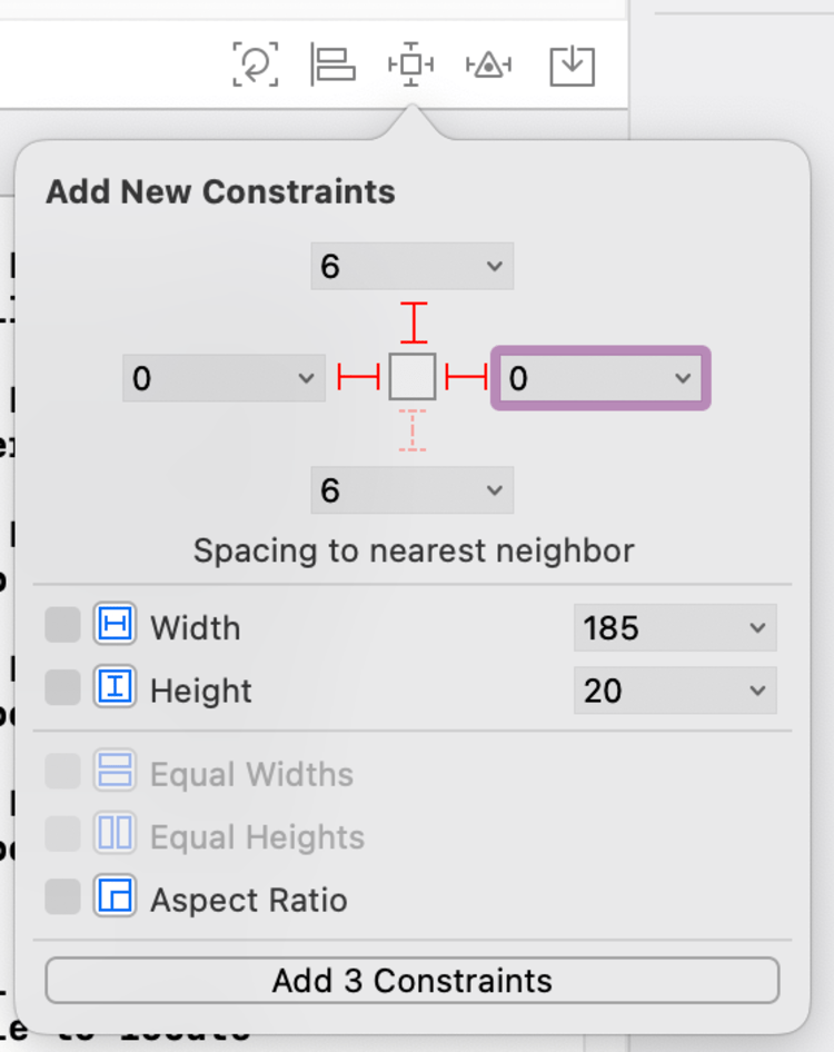 Image shows a screenshot of the Pin Tool with it's overlay showing how the controls each had their constraints added to nest on either side of the superview and keep a space of 6 between each control.