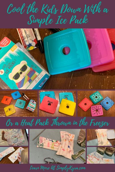 """Pinterest image showing four pictures of ice packs near the top and five images of a rice pack near the bottom. The text is in teal with a eggplant background. It says """"Cool the Kids Down With a Simple Ice Pack / Or a Heat Pack Thrown in the Freezer / Learn More at SimplyKyra.com""""."""