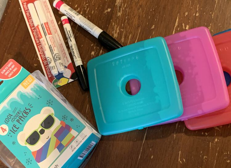 Image shows four ice packs, an empty container, and several oil-based black sharpies.