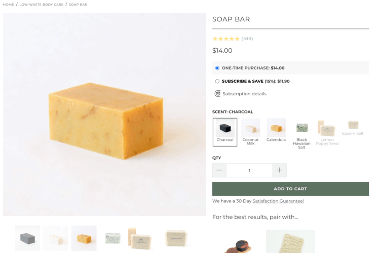 Image shows the calendula bar soap next to the other soap scents offered on the earthing company website.