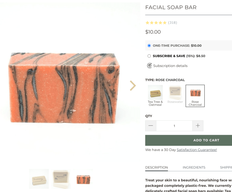 Image shows a pink soap bar with black streaks through it taken from the earthing company facial soap bar page.