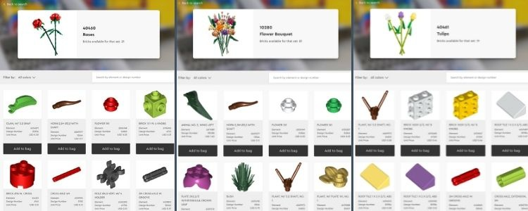 Image is a collage of three screenshots each showing the search results for a particular LEGO® set. Each image shows an image of that set, the set number itself, it's name, and the bricks available to purchase at the top. The bottom of each image shows the first two rows of the parts matching that set. The sets are, from left to right, Roses (40460), Flower Bouquet (10280), and Tulips (40461).