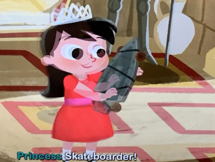 Image is a screenshot of the video in the Homer app where Princess Skateboard is assembling her skateboard.