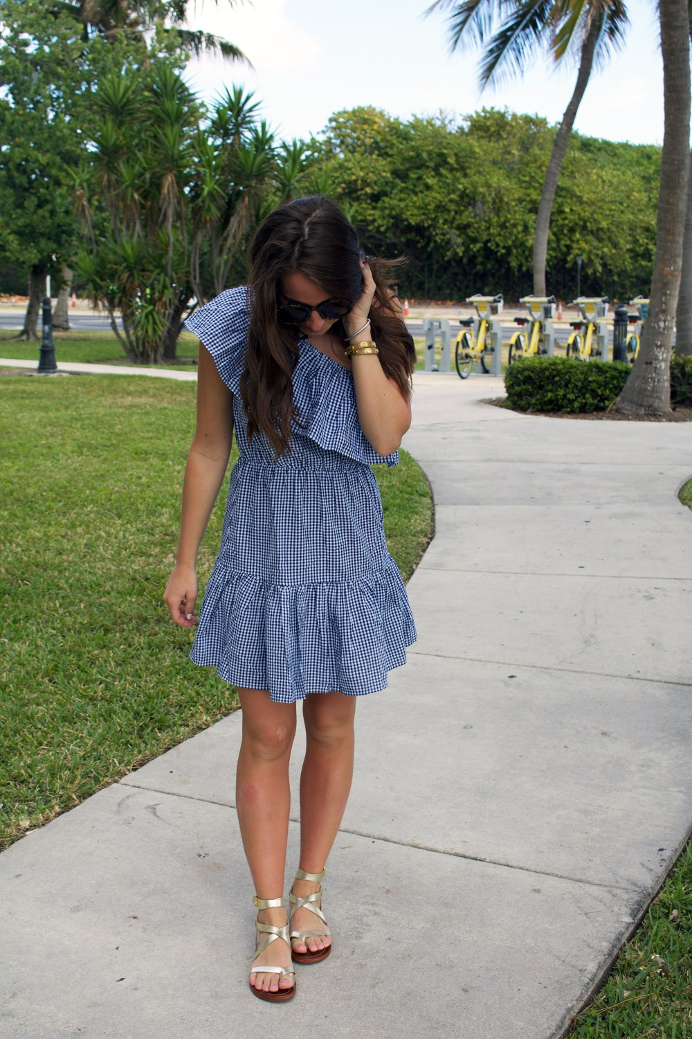 Gingham One Shoulder Dress 2