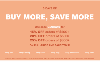 SHOPBOP BUY MORE, SAVE MORE SALE 2019