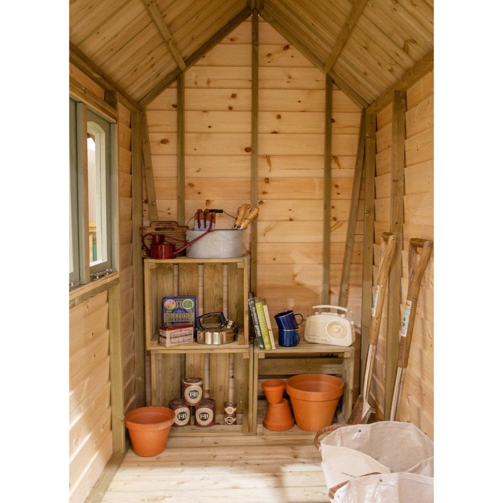 Forest Retreat Shed 6x4 Natural Cream Installed