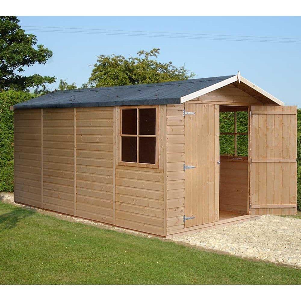 Jersey Garden Shed 7ft x 13ft Double Door Shiplap