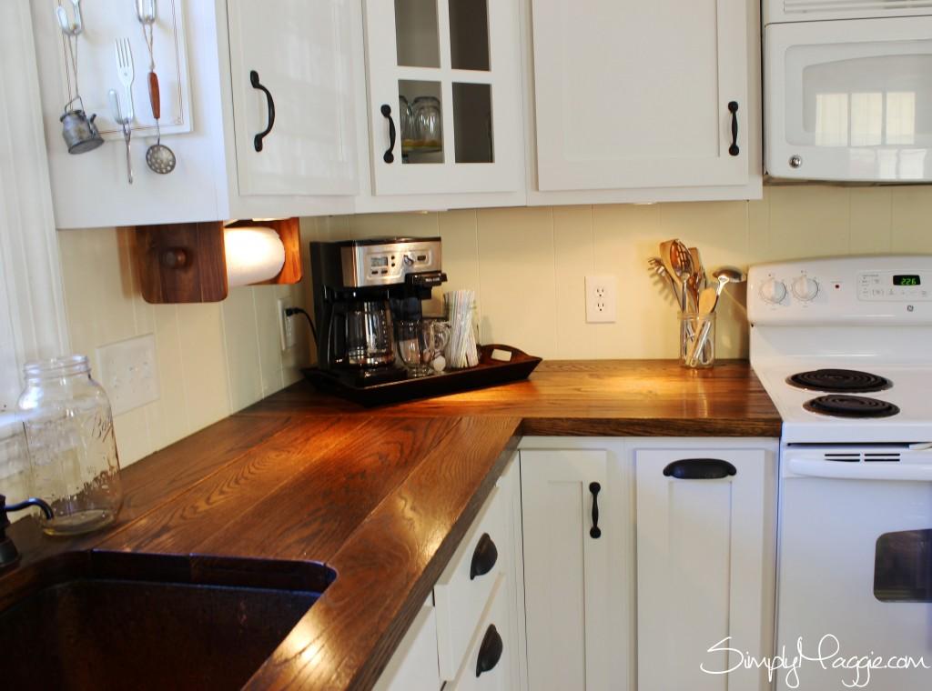 kitchen wood countertops commercial doors diy wide plank butcher block counter tops simplymaggie com under cabinet lighting www