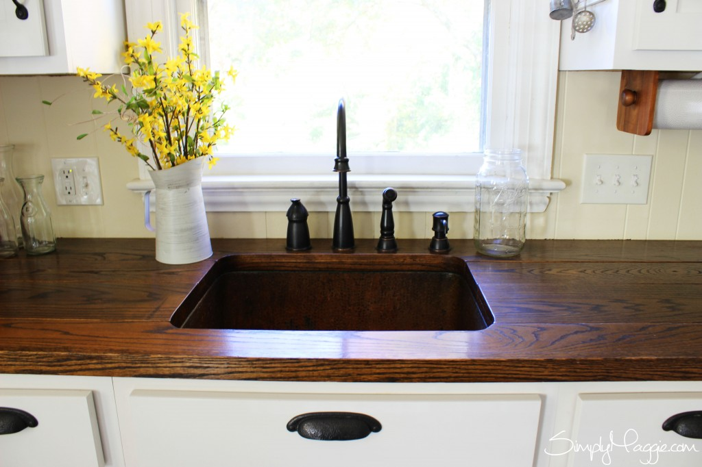 wood kitchen counters movable islands diy wide plank butcher block counter tops simplymaggie com country copper sink www