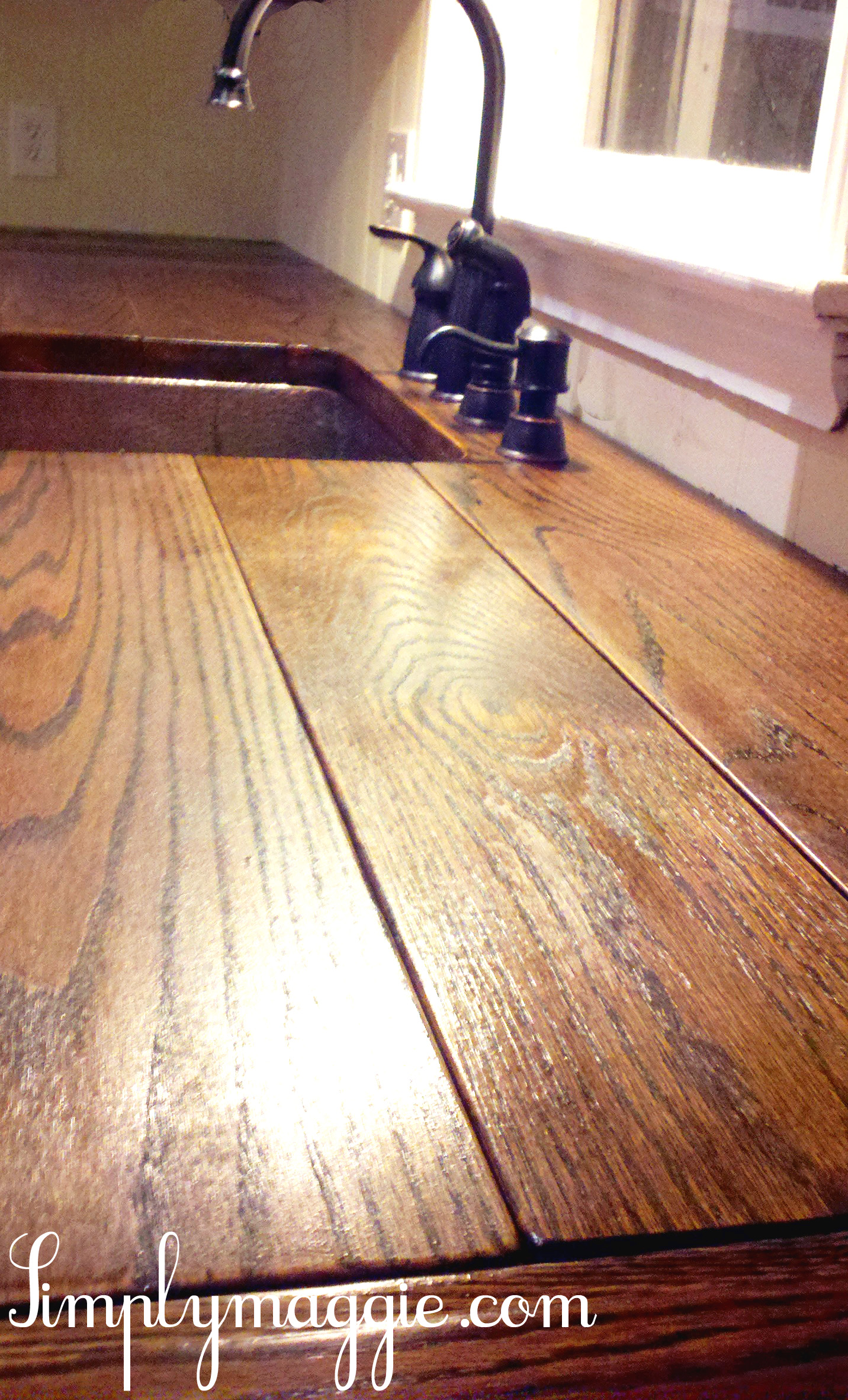 wood kitchen counters pendant lighting lowes diy wide plank butcher block counter tops simplymaggie
