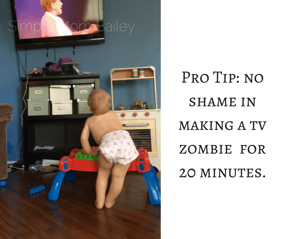 Pro Tip_ no shame in making a tv zombie for 20 minutes. Flat Diaper Hand Wash Routine