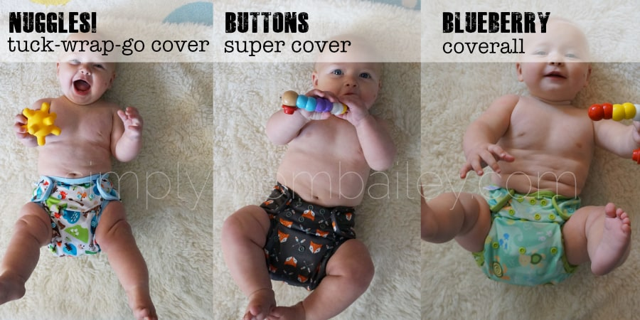 Best Cloth Diaper Covers for Fitted Diapers - Blueberry Coverall / Blueberry Capri - Buttons Super - Nuggles Cover Size 2 Tuck-Wrap-Go