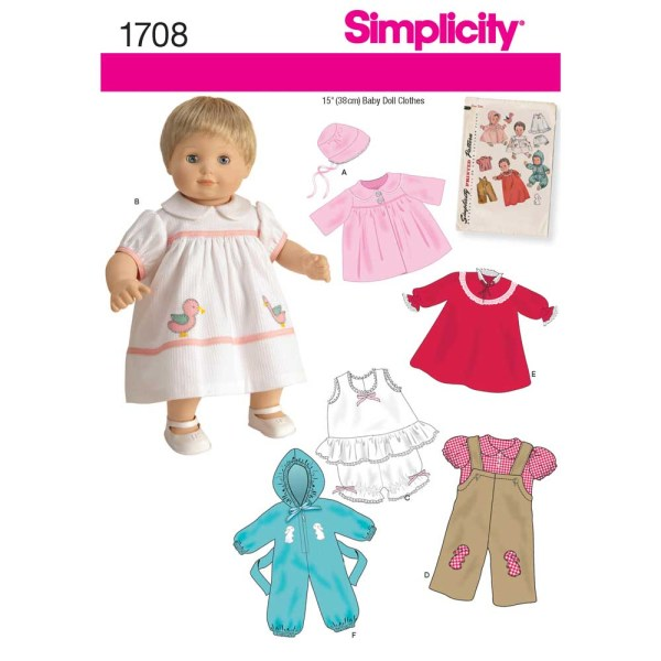 1708 simplicity doll clothing pattern 1708 a envelope
