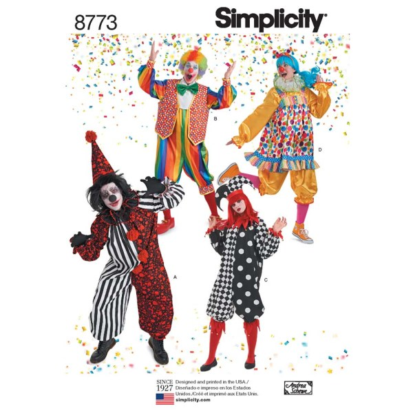 8773 simplicity clown costumes pattern 8773 a envelope