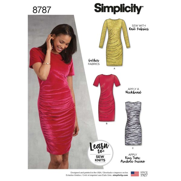 8787 simplicity learn to sew ruched dress pattern 8787 a envelope