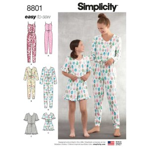 8801 simplicity mother daughter pajama rompers pattern 8801 a envelope