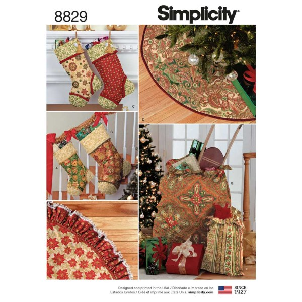 8829 simplicity christmas stocking treeskirt gift bag pattern 8829 a envelope