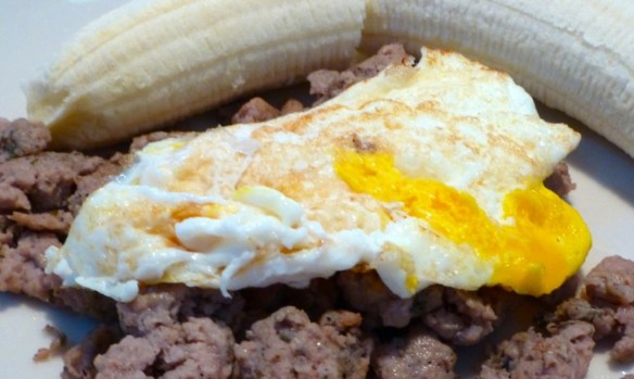 Paleolithic Breakfast, Ground turkey with spices, one egg over easy and a banana