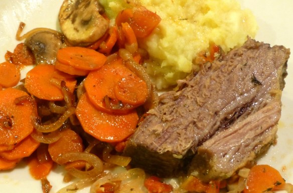 Beef brisket with mashed sweet potato and carrot salad