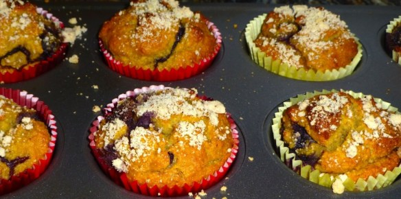 Blueberry Almond Crumb Muffins