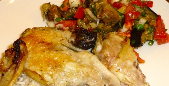 Chicken Marbella with Roasted Eggplant and Garlic Salad
