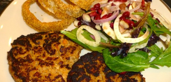 Salmon Patties, Onion Rings and Winter Citrus Salad