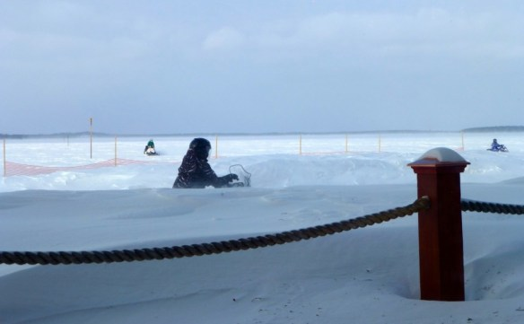Snowmobilers on Gull Lake