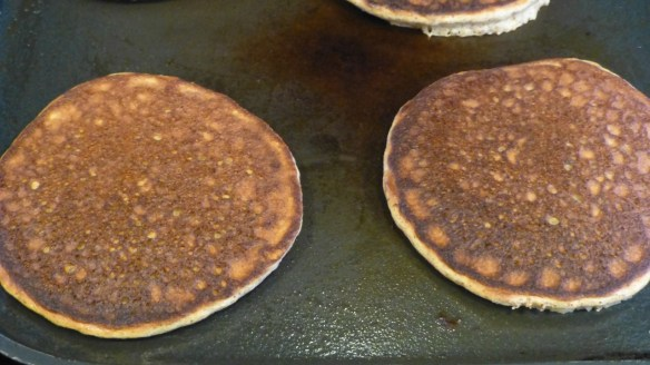 Paleo pancakes on grill
