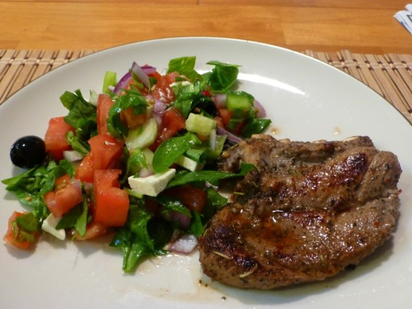 Greek Lamb Chops with Green Salad