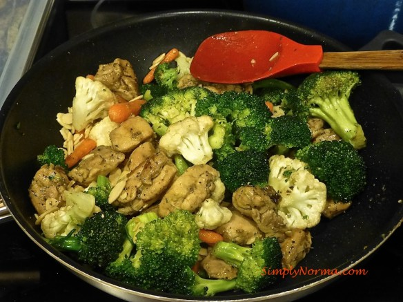 Add the Chicken to the Veggies