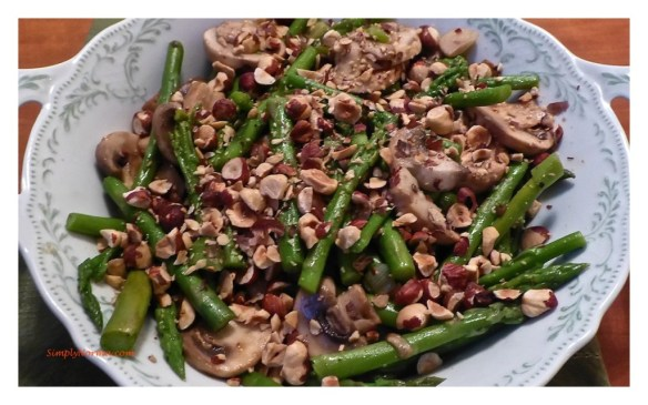 Asparagus, Mushrooms and Hazelnut Side Dish