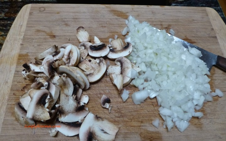 Prepare the mushrooms and onions