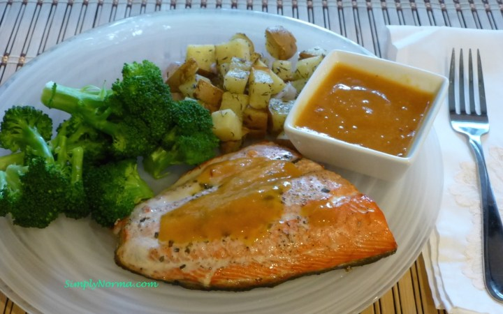 Baked Salmon with Apricot Ginger Sauce and Baked Sweet Potato with Thyme