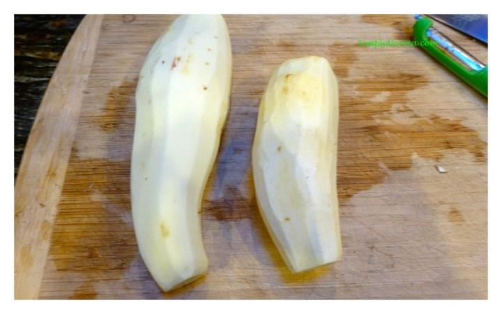 Clean and Peel Sweet Potatoes