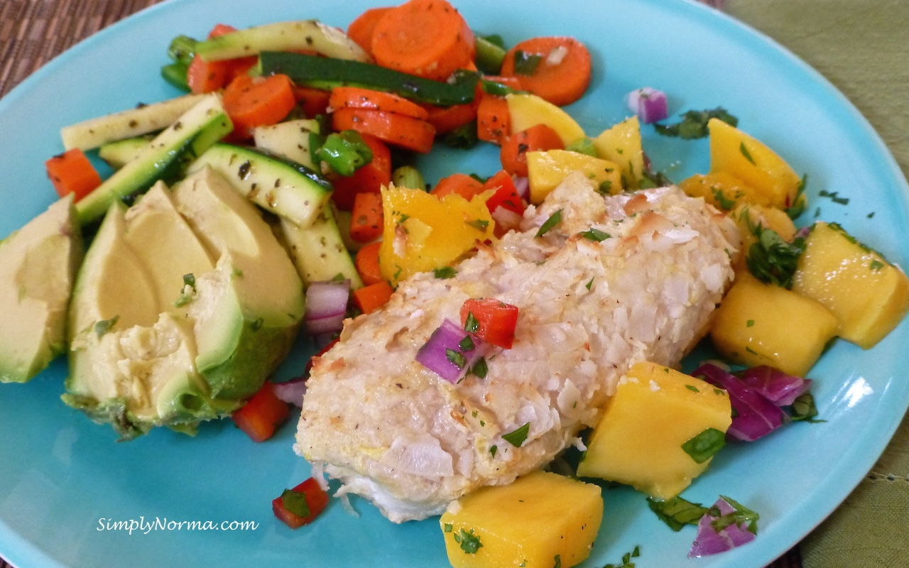 Coconut-Crusted Chicken with Mango Salsa | Simply Norma