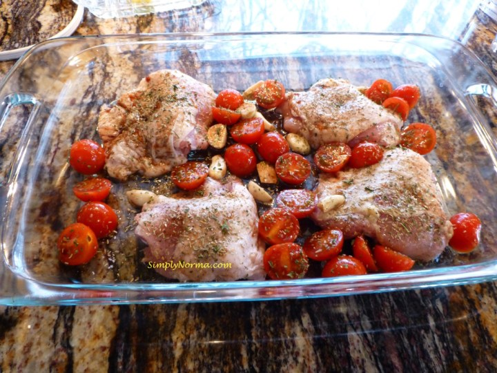 Mix Ingredients for the Baked Chicken with Cherry Tomatoes and Garlic
