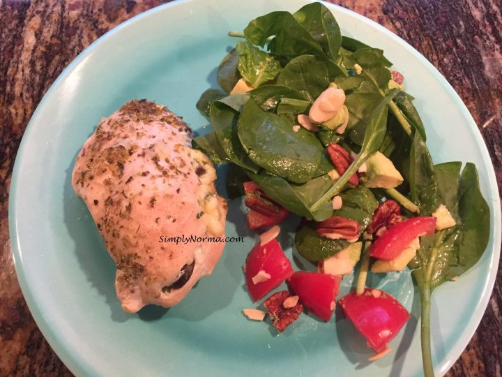 Spinach, Cheese and Olive Stuffed Chicken Breasts (Paleo)