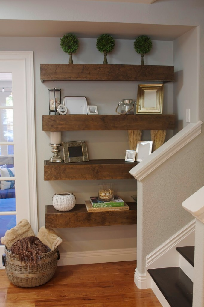 Simple DIY Floating Shelves Tutorial Decor Ideas