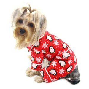 Buy Klippo flannel dog pajamas in bright red with the classic design of penguins and snowflakes.