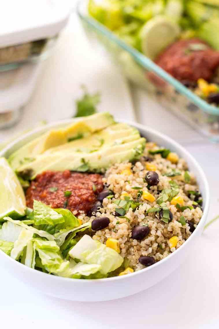 Meal prep vegetarian quinoa burrito bowl