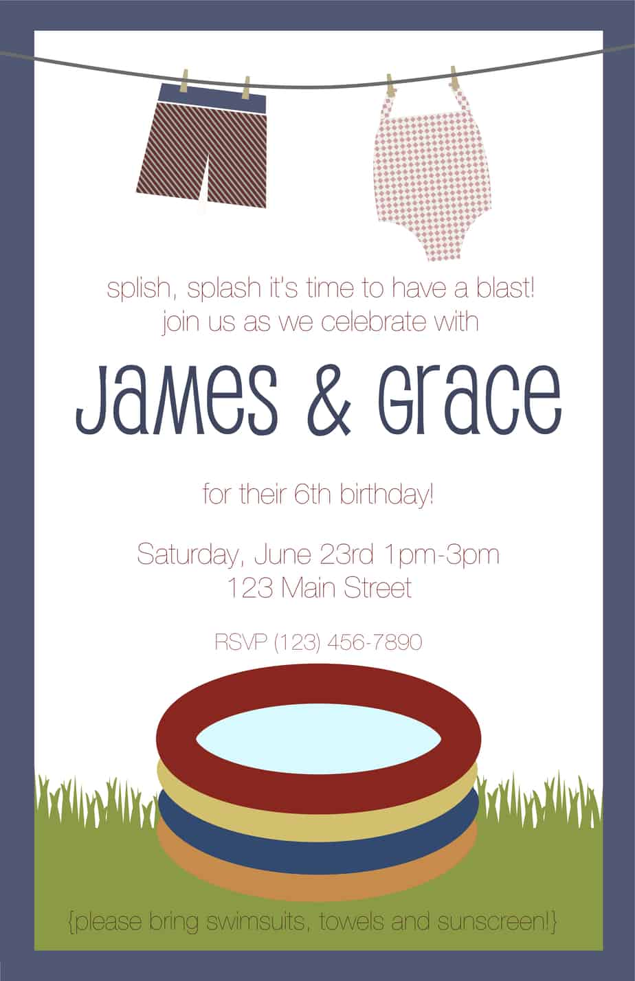 Pool Party Invitations Wording