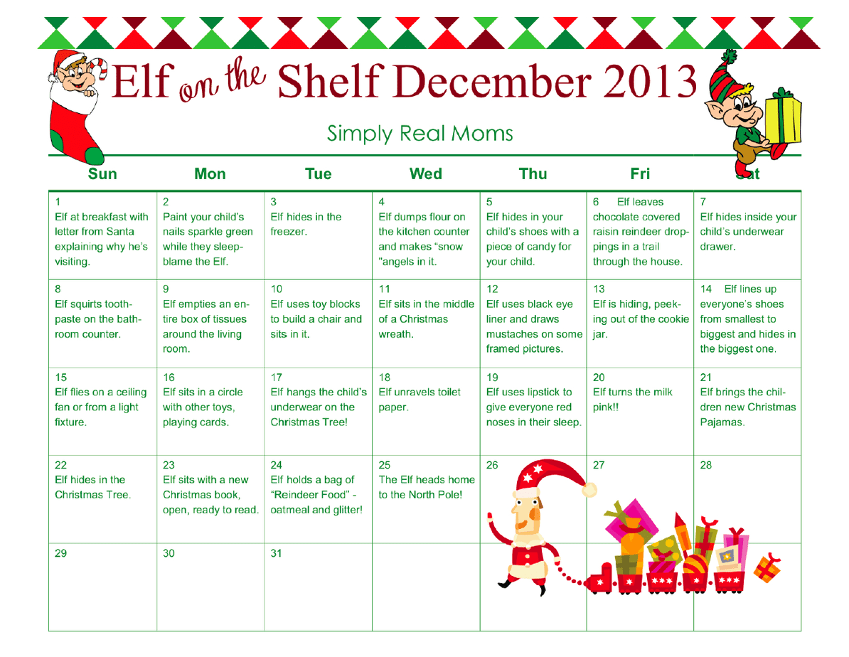 Free Elf On The Shelf Month Long Printable