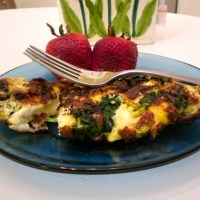 Caramelized Onion Spinach and Mushroom Omelette