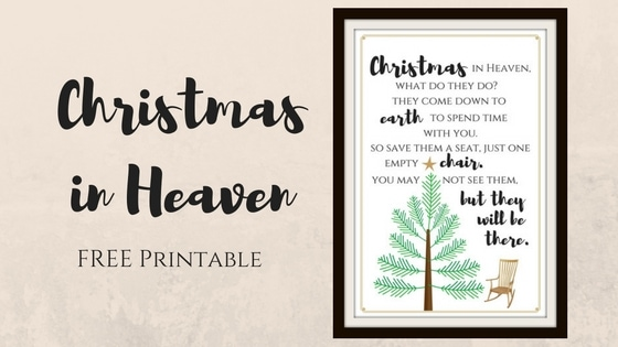 christmas in heaven free printable